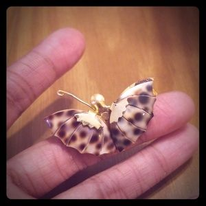 Butterfly Brown & Gold Spotted Brooch